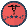 two star healthcare providers school badge