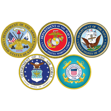 army navy air force and coast guard logo types logo icons